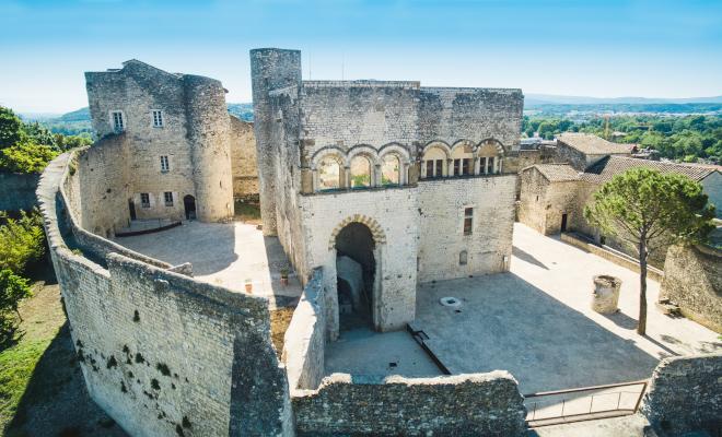 Château des Adhémar Montélimar, vue aérienne